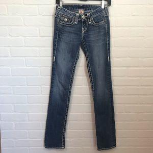 True Religion Jeans Sz 25 Straight Button Flap